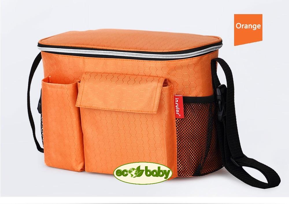 Термосумка для детской коляски, сумка для мамы на коляску Ecobaby, модель Insular, артикул ЕС-002, цвет Orange - Оранжевый. Новинка. Держит температуру напитков 4 часа. Удобна круглый год. Размер 31х16х20 см.
