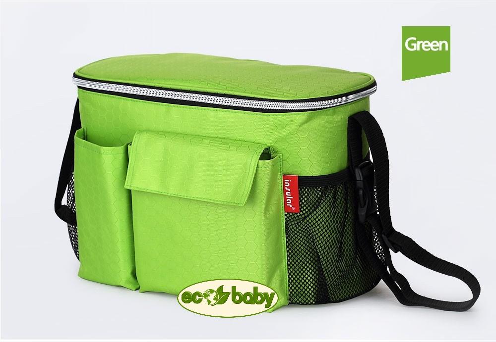 Термосумка для детской коляски, сумка для мамы на коляску Ecobaby, модель Insular, артикул ЕС-002, цвет Green - Зеленый.