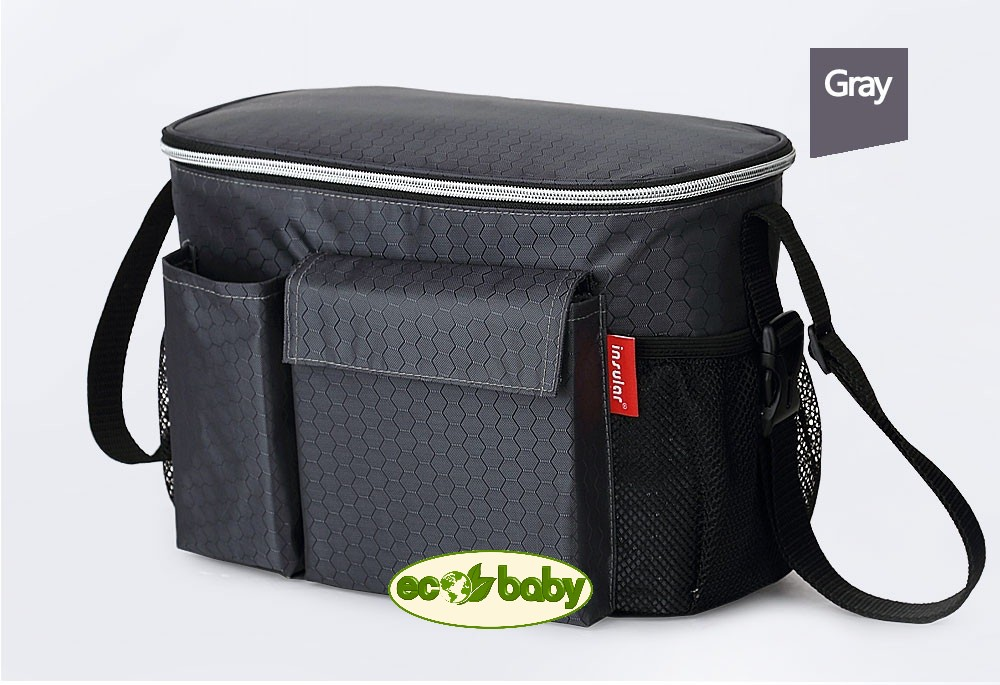 Термо сумка для детской коляски, сумка для мамы на коляску Ecobaby, модель Insular, артикул ЕС-002, цвет Gray - Серый. Новинка. Держит температуру напитка в течение 4-х часов.  Размер 31х16х20 см. Удобна зимой и летом.