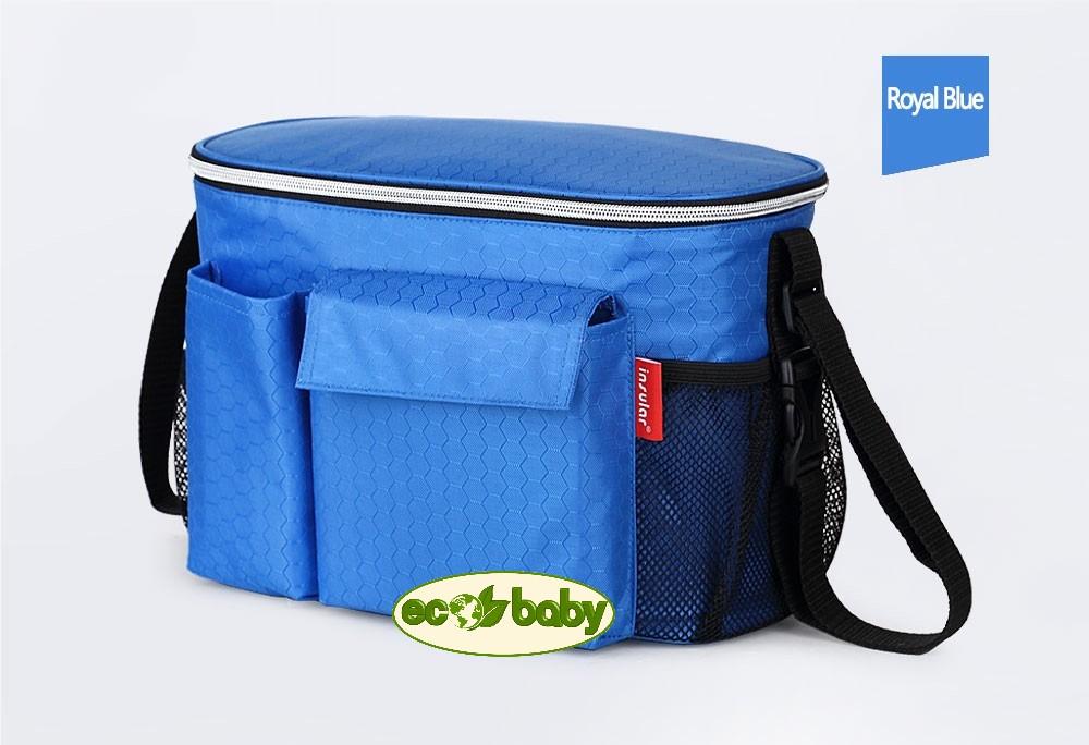 Термосумка для детской коляски, сумка для мамы на коляску Ecobaby, модель Insular, артикул ЕС-002, цвет Royal  - Голубой.