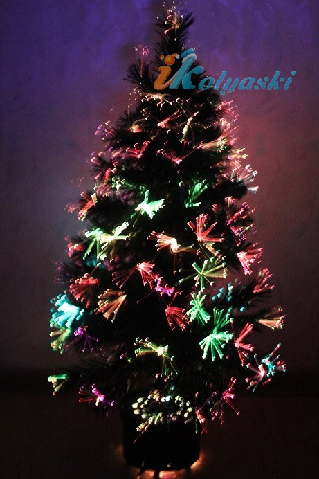 Елка световод с разноцветными супер-яркими шишками 18 LED шишек,60 веток,60см