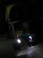 Фонари передние,  светодиодные фары на детскую коляску и на велосипед, LED, цвет белый,  3 функции: проблесковый, мигает, постоянно горит