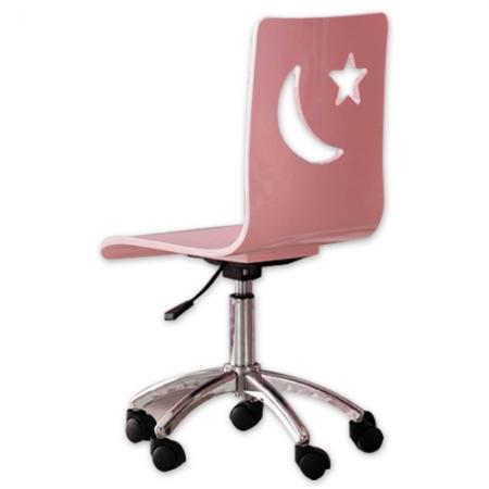 детский стул, рабочий стул для ребенка - Happy Chair, стул на колесиках, сидение МДФ, цвет розовый, основание сталь, цвет хром