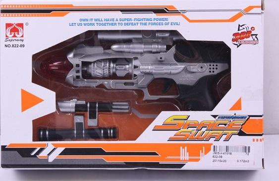 Игрушечное оружие автомат космический бластер детский,  игрушечный бластер, пистолет автоматический с вращающимся элементом, размер коробки 24*16*4,5 см, Space Swat, арт. 822-09, артикул К36837, Snowmen.