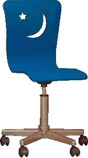 стул детский рабочий Happy Chair, стул на колесиках, сидение МДФ, цвет синий, основание сталь, цвет хром. Красивый и практичный детский компьютерный стул. Удобный стул для школьника, чтоб комфортно было делать уроки за письменным столом. Детский стул для компьютера, детский регулируемый стул, регулируемый по высоте, вращающийся стул на колесиках.
