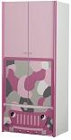 Детский шкаф для одежды, серия Веселый Джип, цвет розовый, камуфляж, материал МДФ,  шкаф для одежды детский, детский шифоньер в комнату для девочки, американская детская мебель
