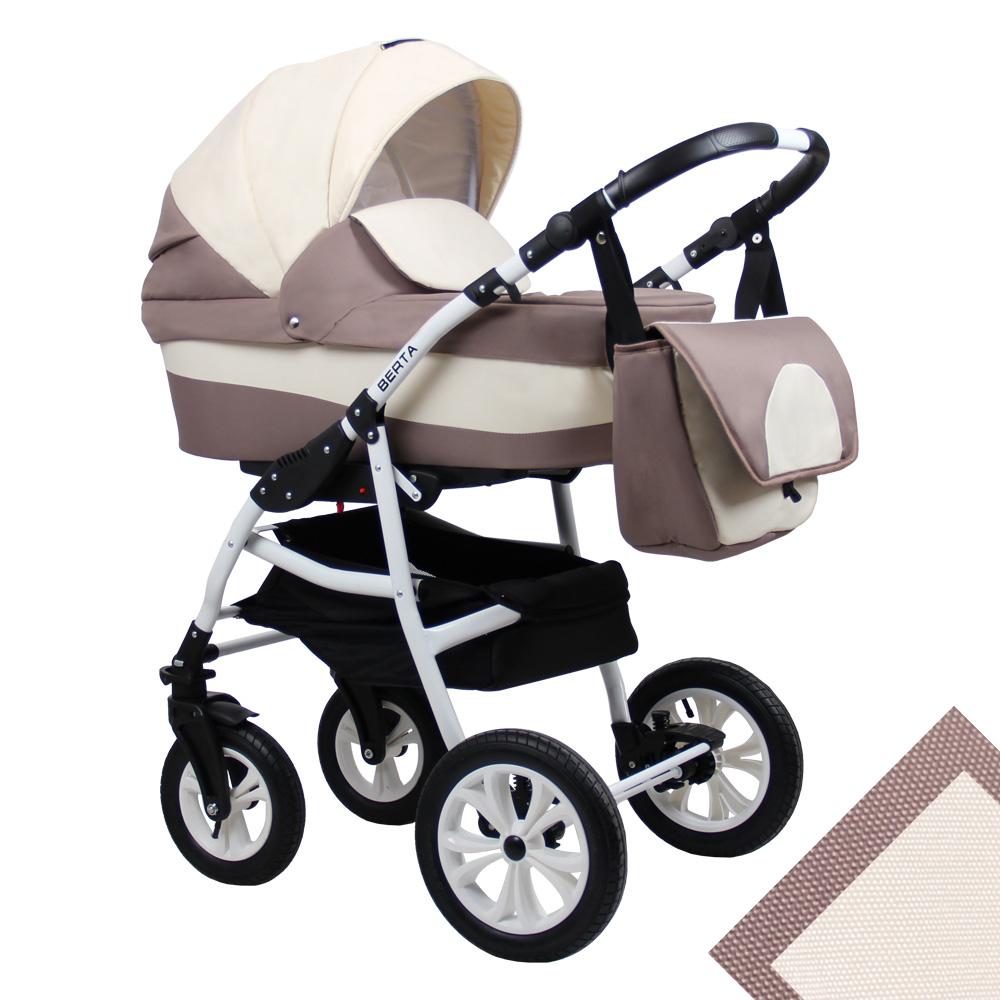 Детская коляска для новорожденных 2 в 1 на поворотных колесах, модульная коляска с прогулочным блоком Alis Berta, Алис Берта. Цвет Be-01