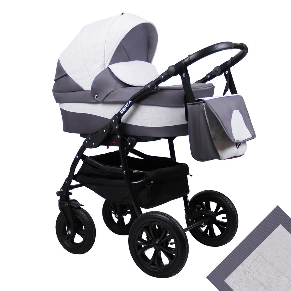 Детская коляска для новорожденных 2 в 1 на поворотных колесах, модульная коляска с прогулочным блоком Alis Berta, Алис Берта. Цвет Be-08