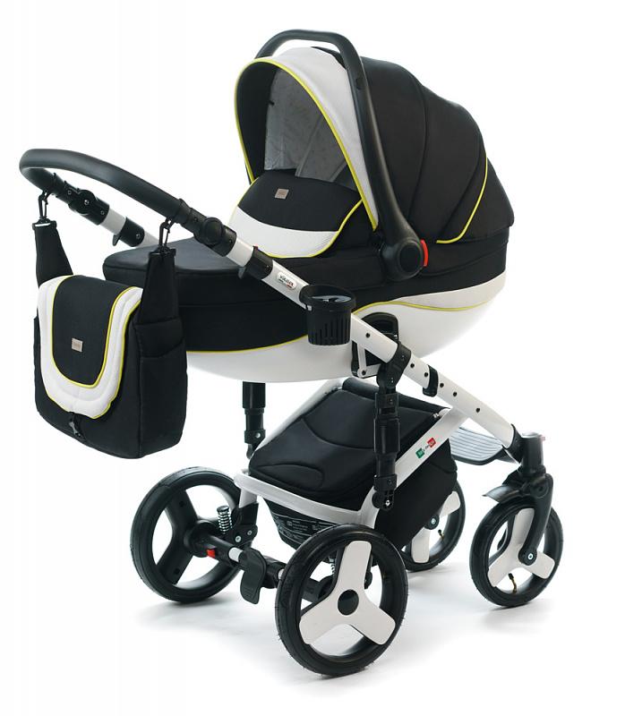 Детская коляска для новорожденных  3 в 1 на поворотных колесах, с автокреслом группы 0+ Vikalex Tasso, Италия, цвета разные, артикул: 76184, цвет Black