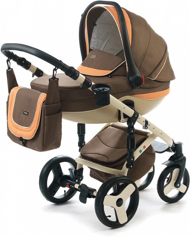 Детская коляска для новорожденных  3 в 1 на поворотных колесах, с автокреслом группы 0+ Vikalex Tasso, Италия, цвета разные, артикул: 76184, цвет Brown