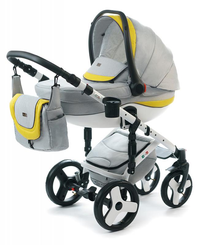 Детская коляска для новорожденных  3 в 1 на поворотных колесах, с автокреслом группы 0+ Vikalex Tasso, Италия, цвета разные, артикул: 76184, цвет Light Grey