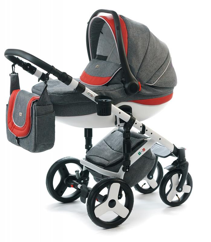 Детская коляска для новорожденных  3 в 1 на поворотных колесах, с автокреслом группы 0+ Vikalex Tasso, Италия, цвета разные, артикул: 76184, цвет Linen Grey