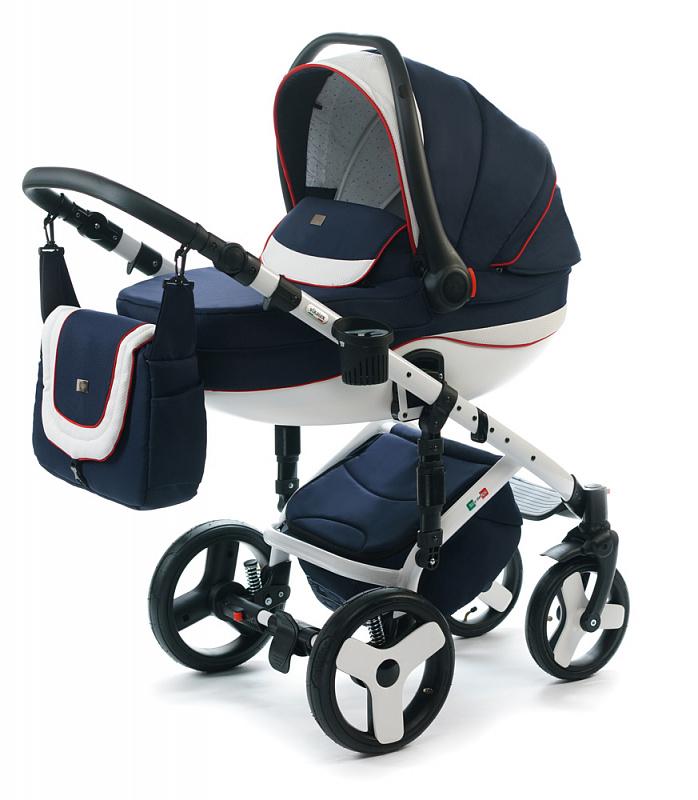 Детская коляска для новорожденных  3 в 1 на поворотных колесах, с автокреслом группы 0+ Vikalex Tasso, Италия, цвета разные, артикул: 76184, цвет Navy Blue