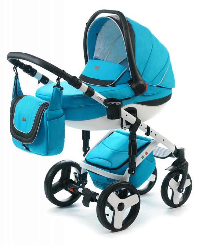 Детская коляска для новорожденных  3 в 1 на поворотных колесах, с автокреслом группы 0+ Vikalex Tasso, Италия, цвета разные, артикул: 76184, цвет Ocean