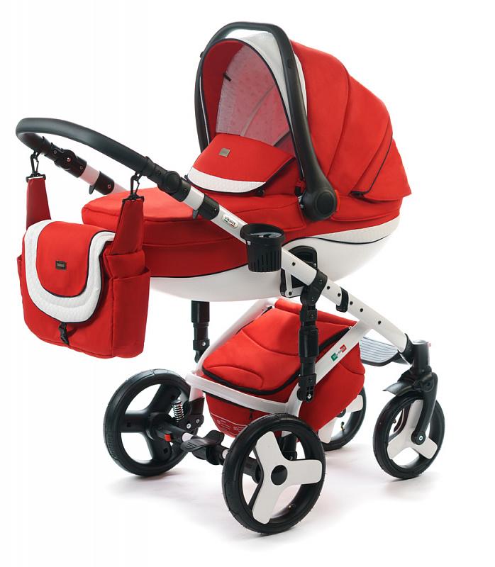 Детская коляска для новорожденных  3 в 1 на поворотных колесах, с автокреслом группы 0+ Vikalex Tasso, Италия, цвета разные, артикул: 76184, цвет Red