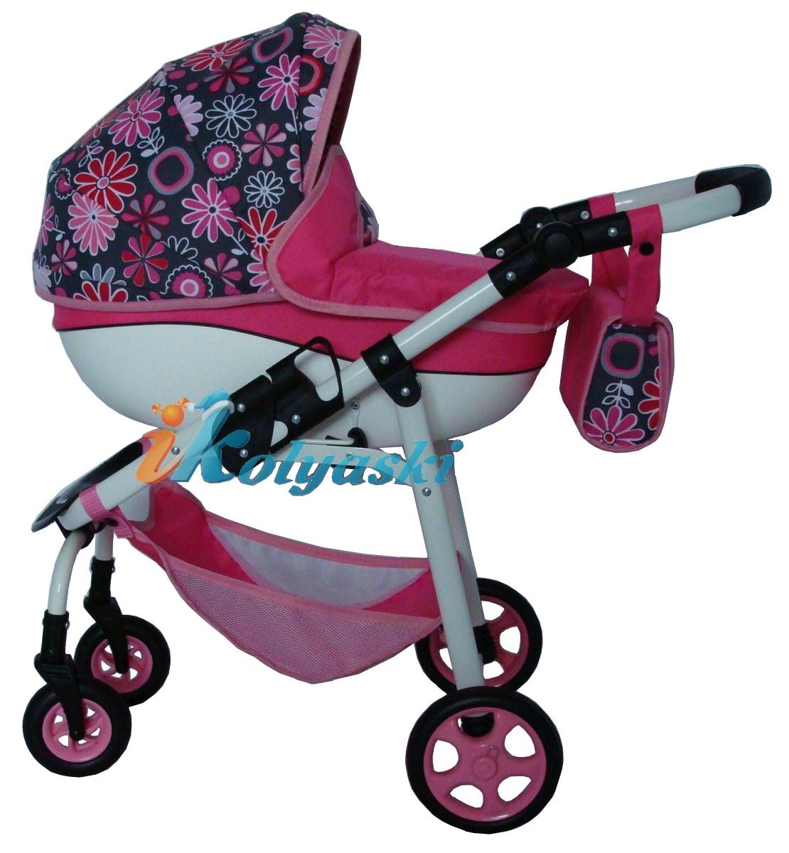 Модная кукольная коляска на поворотных колесах, коляска люлька для кукол, Ecobaby. Красивая кукольная коляска с большой пластиковой люлькой. Коляска для кукол изготовлена на том же заводе, который выпускает настоящие коляски для новорожденных деток. Коляска предназначена для детей от 2 до 10 лет. Размер коляски в готовом виде 60х36х45 см, размер ложа 56х30 см.