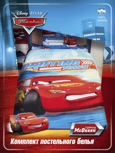 комплект детского постельного белья Дисней Тачки, Disney Cars Pixar, полутороспальный, 100% хлопок, бязь.  КПБ  размеры: наволочка 50х70 см, простыня 150х215 см, пододеяльник 145х210 см