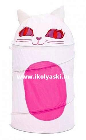 Детская корзина для игрушек Bony Кошка, размер 43х60 см, артикул GFP-070. Напольная корзина для игрушек Кошечка, складная и компактная для хранения корзина для детских игрушек, детские корзины для игрушек, корзина Бони для детских игрушек