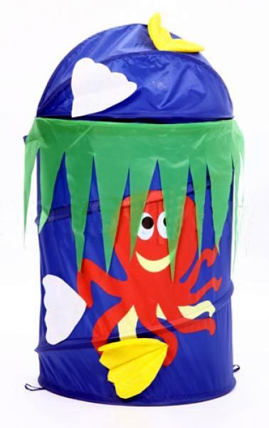 Детская корзина для игрушек Bony Осьминог, размер 43х60 см, артикул GFP-113. Напольная корзина для игрушек Осьминожка, складная и компактная для хранения корзина для детских игрушек, детские корзины для игрушек, корзина Бони для детских игрушек