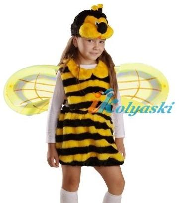Роскошный плюшевый костюм Пчелки для девочки, костюм пчелки состоит из платья, шапки-маски с усиками и крыльев