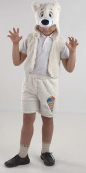 Костюм Белого медведя,  костюм Полярного медведя,  карнавальный костюм Белого Медвежонка Умки,  детский карнавальный костюм для мальчика, маскарадный костюм из мягкого плюша, серия Карнавалия Плюш