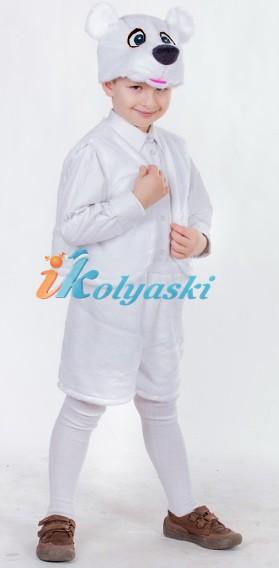 Костюм белого медведя для мальчика, Детский карнавальный костюм Белый медведь. Персонаж любимого мультфильма про Умку - белого медвежонка