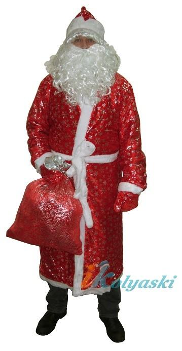 Костюм Деда Мороза красный с серебряными снежинками, новогодний профессиональный костюм Деда Мороза с КРАСНЫМ МЕШКОМ для подарков, артикул Е60217+Е0414(мешок), фирма Snowmen, безразмерный, от 46 до 54 размера