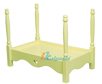 Кровать для кукол, кукольная кровать Ecobaby Sweet Dreams, массив, ручная работа, цвет сливочный (слоновая кость), размер 60х36х45 см. Подходит для фотосессий новорожденных детей. Размер ложа 56х30 см, эта кровать подходит по размеру для кукол Беби Бон и Реборн Кидс.