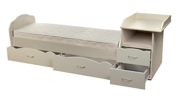 Детская кроватка-трансформер Алиса, кроватка для новорожденных с пеленальным комодом, подростковая кровать + письменный стол с ящиками, новинка 2015, цвет БЕЛЫЙ