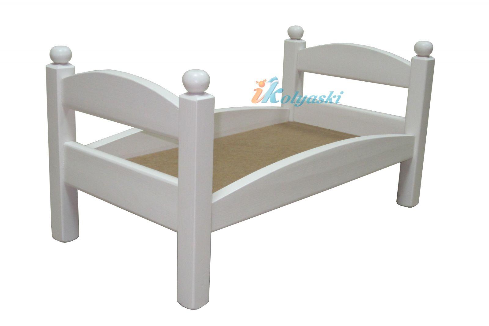 Кровать для кукол, кукольная кровать Ecobaby Синдерелла, массив, ручная работа, цвет белый, размер 55х29х29 см