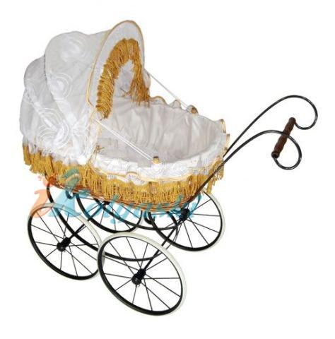 Кукольная коляска в английском ретро стиле, коляска для кукол, ретро коляска для кукол, люлька с плетеной корзиной из натурально