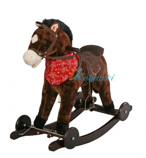 Детская лошадка-качалка и каталка масти ГНЕДАЯ С ЧЕРНОЙ ГРИВОЙ, С БАНДАНОЙ, колеса и качалка деревянные, не будут портить покрытие пола. Лошадка ржет при нажатии на ухо, издает звук цокота копыт, словно скачет, открывает рот, машет хвостом, работает на батарейках. Лошадка-качалка предназначена для детей от 1 года до 6 лет.