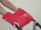 Зимняя муфта ЕВРОПА на ручку детской коляски из 100% натуральной овечьей шерсти, с внутренним утеплителем, ОТДЕЛКА ВЫШИВКА, цвет КРАСНЫЙ