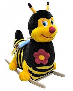 Детская качалка Пчелка - мягкая XL на деревянных полозьях НОВИНКА, размер 75х75 см, гипоаллергенный искусственный мех, как в мягких игрушках, артикул Р71193. Для детей от 10-11 месяцев, которые уже научились ходить, и до 3-х лет