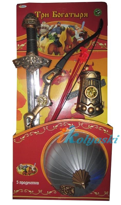 Набор оружия Витязь - Три богатыря со шлемом в комплекте, 5 предметов, размер упаковки 60х29,5 см, код 186298, фирма Лапландия.