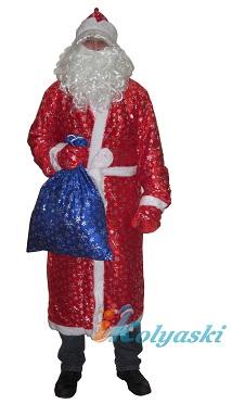 Костюм Деда Мороза красный с серебряными снежинками, новогодний профессиональный костюм Деда Мороза с СИНИМ МЕШКОМ для подарков, артикул Е60217+Е50856 (мешок), фирма Snowmen, безразмерный: от 46 до 54 размера