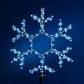 новогодняя электрогирлянда снежинка из дюралайта 37 см белый/синий цвет, упакована в пакете, белый провод, Е60010, Snowmen