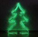 новогодняя электрическая гирлянда - панно Елка, 108 ламп, размер панно 32х48 см, из дюралайта зеленого цвета, упакована в пакете (бел. провод) , артикул Е80010, Snowmen. Гирлянда на окно.