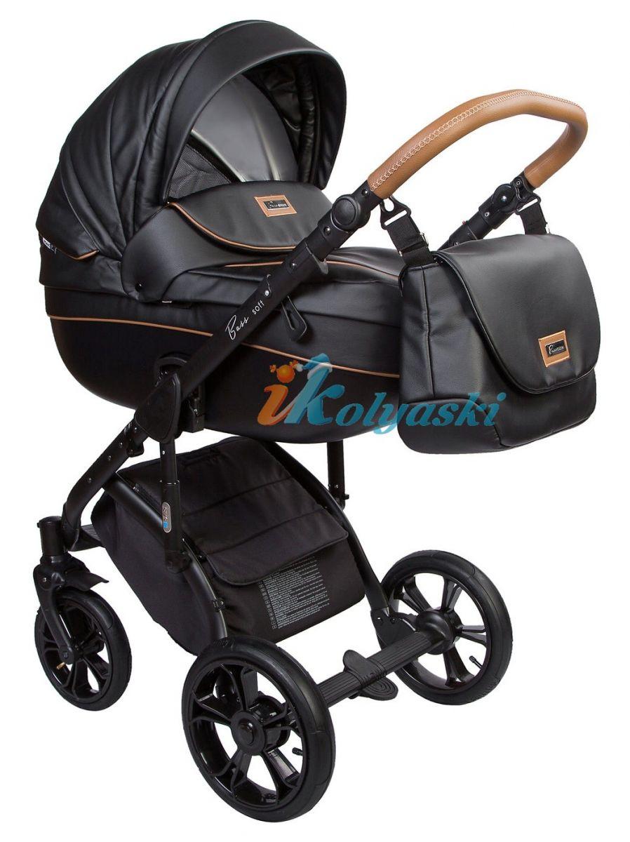 Roan Bass Soft Leather & Denim (Jeans), Детская коляска для новорожденных, на поворотных колесах, 3 в 1 Roan Bass Soft  -  Роан Басс шасси Софт, обшивка люльки Эко-Кожа и джинс. Хит 2018. Roan Bass Soft Leather, Детская коляска для новорожденных, детская коляска на поворотных колесах, коляски 3 в 1, коляска Roan Bass Soft, коляска Роан Басс Софт, коляски новинки 2018, детские коляски новинки 2018, коляски Roan, детские коляски роан купить