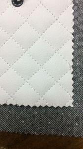 Е64 стеганая белая экокожа и ткань серая деним дот в мелкую белую точку