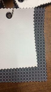 Е70 белая экокожа и серая в мелкий рисунок ткань
