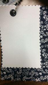 Е71 белая экокожа и серая в рисунок ткань