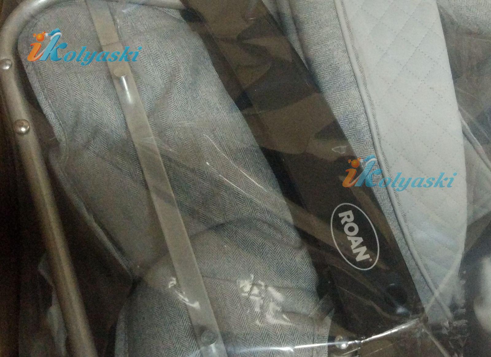 Roan Emma Е-195 серая ткань деним джинсовая комбинирована с серой экокожей, простеганной в ромбик
