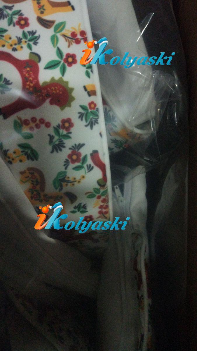 Roan Emma S-184 цветная плащевка с лошадками и цветами и белая экокожа