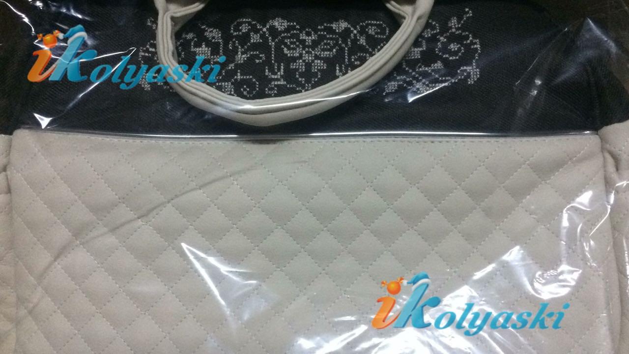 Roan Marita Prestige P-189 белая экокожа, простеганная ромбиком, синяя плотная ткань, белый орнамент на накидке и на сумке