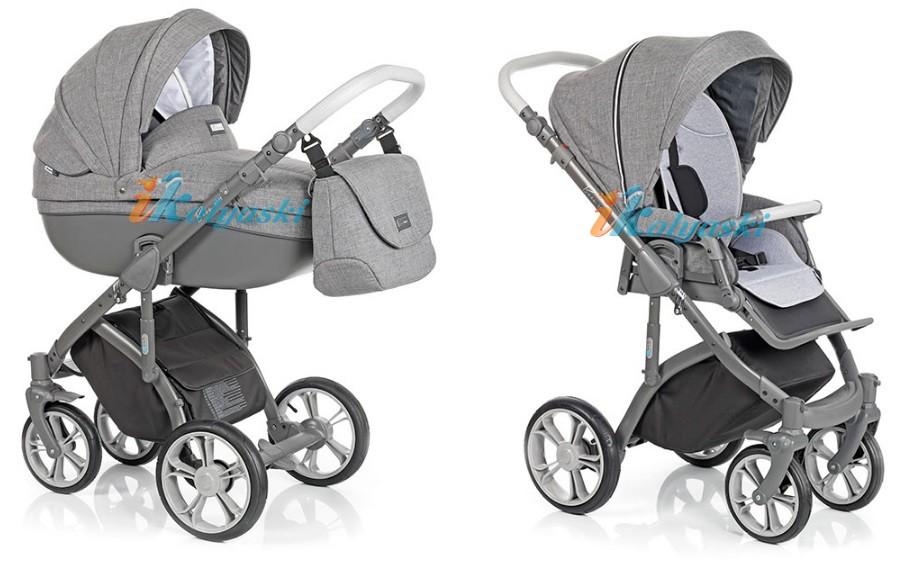 Roan Bass Soft Leather Summer Collection, Chevron & Denim (Jeans), Детская коляска для новорожденных, на поворотных колесах, 3 в 1 Roan Bass Soft  - Роан Басс шасси Софт, обшивка люльки экокожа, Стеганая и Джинс. Цвет Graphit Powder