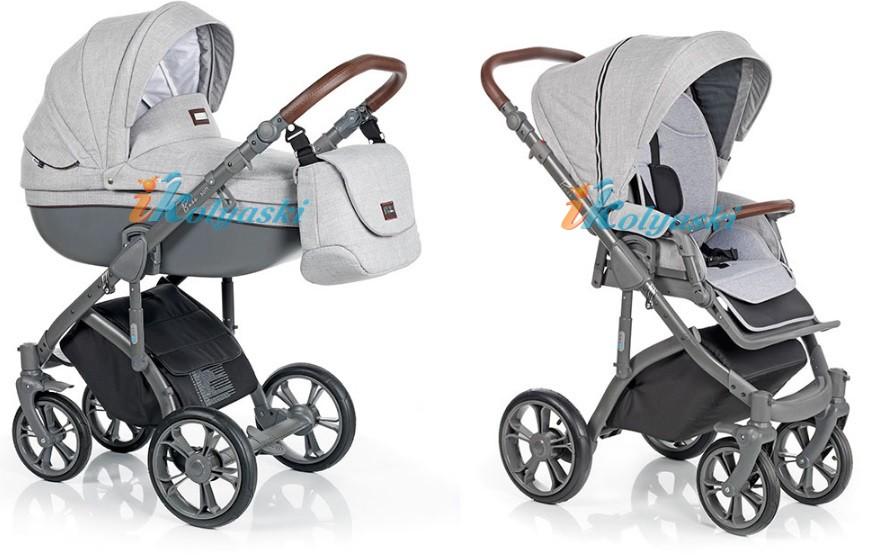 Roan Bass Soft Leather Summer Collection, Chevron & Denim (Jeans), Детская коляска для новорожденных, на поворотных колесах, 3 в 1 Roan Bass Soft  - Роан Басс шасси Софт, обшивка люльки экокожа, Стеганая и Джинс. Цвет Grey Powder