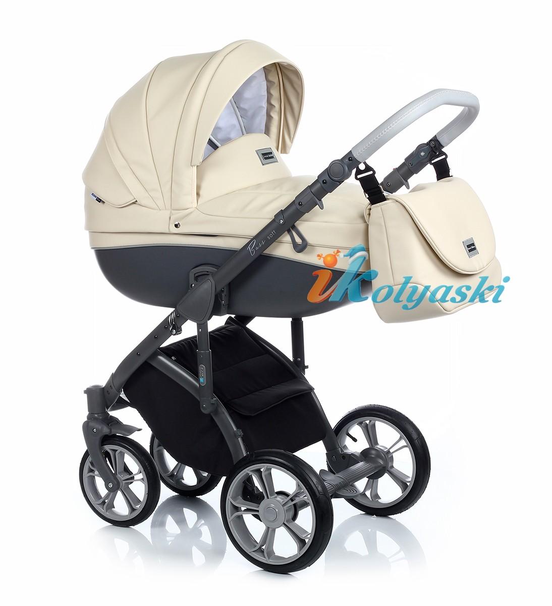 Детская коляска для новорожденных Roan Bass Soft LE, коляска 3 в 1, Роан Басс Софт 3 в 1, купить коляску 3 в 1, модные коляски 3 в 1, лучшие коляски 3 в 1, коляски для новорожденных 3 в 1, коляска на поворотных колесах, Roan Bass Soft ECO-LEATHER COLLECTION -  color CREAM SHAKE