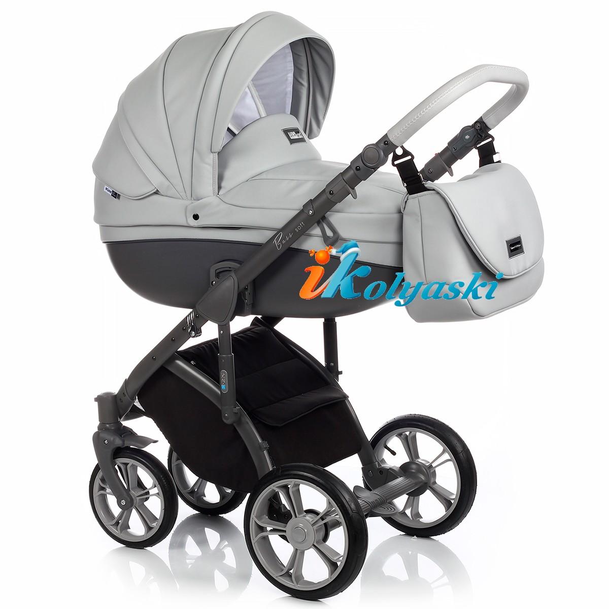 Детская коляска для новорожденных Roan Bass Soft LE, 3 в 1, Роан Басс Софт с автокреслом группы 0+ Roan Poppy, ECO-LEATHER COLLECTION color DOVE GREY