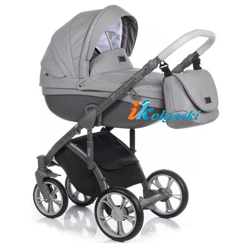 Детская коляска для новорожденных Roan Bass Soft LE, 3 в 1, Роан Басс Софт с автокреслом группы 0+ Roan Poppy, цвет GERY-GRAPHIT